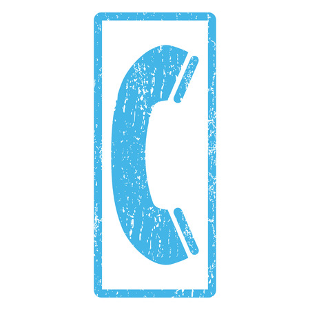 phone receiver: Phone Receiver rubber seal stamp watermark. Glyph pictogram symbol inside rounded rectangular frame with grunge design and dirty texture. Scratched blue ink emblem print on a white background. Stock Photo