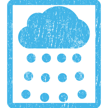dust cloud: Rain Cloud rubber seal stamp watermark. Glyph icon symbol inside rounded rectangle with grunge design and dust texture. Scratched blue ink emblem print on a white background. Stock Photo