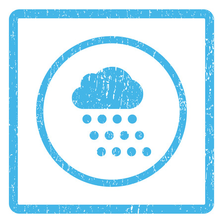 dust cloud: Rain Cloud rubber seal stamp watermark. Glyph icon symbol inside rounded rectangle with grunge design and dust texture. Scratched blue ink sticker print on a white background.