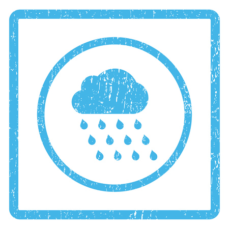 dust cloud: Rain Cloud rubber seal stamp watermark. Glyph icon symbol inside rounded rectangular frame with grunge design and dust texture. Scratched blue ink sign print on a white background. Stock Photo