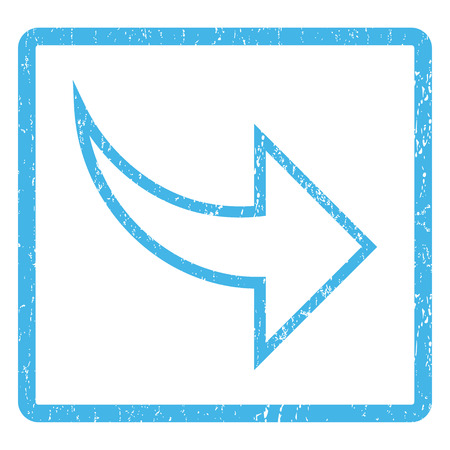 redo: Redo rubber seal stamp watermark. Glyph icon symbol inside rounded rectangle with grunge design and unclean texture. Scratched blue ink sign print on a white background. Stock Photo