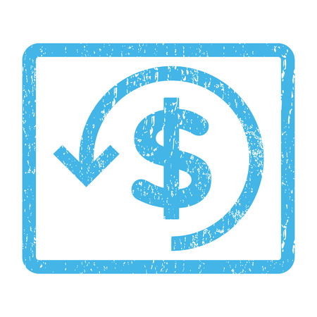 moneyback: Refund rubber seal stamp watermark. Glyph icon symbol inside rounded rectangular frame with grunge design and dirty texture. Scratched blue ink sticker print on a white background.