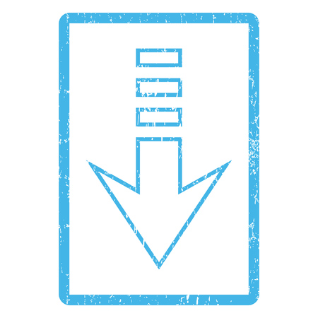 blue send: Send Down rubber seal stamp watermark. Glyph icon symbol inside rounded rectangle with grunge design and dirty texture. Scratched blue ink sticker print on a white background.