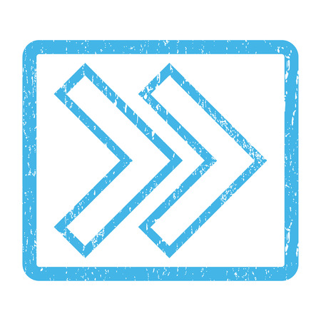 Shift Right rubber seal stamp watermark. Glyph icon symbol inside rounded rectangle with grunge design and unclean texture. Scratched blue ink sticker print on a white background. Stock Photo