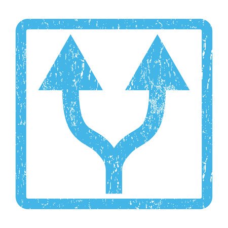 Split Arrows Up rubber seal stamp watermark. Glyph icon symbol inside rounded rectangle with grunge design and scratched texture. Scratched blue ink sticker print on a white background.