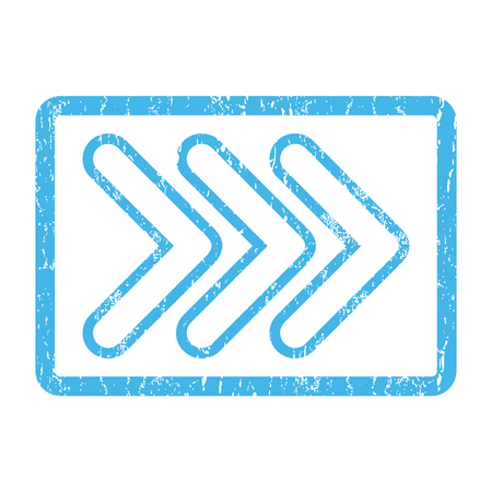 Triple Pointer Right rubber seal stamp watermark. Glyph icon symbol inside rounded rectangular frame with grunge design and dust texture. Scratched blue ink sticker print on a white background. Stock Photo