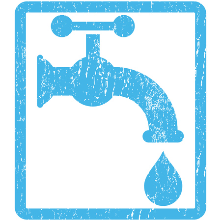 aqueduct: Water Tap rubber seal stamp watermark. Glyph icon symbol inside rounded rectangle with grunge design and unclean texture. Scratched blue ink emblem print on a white background.