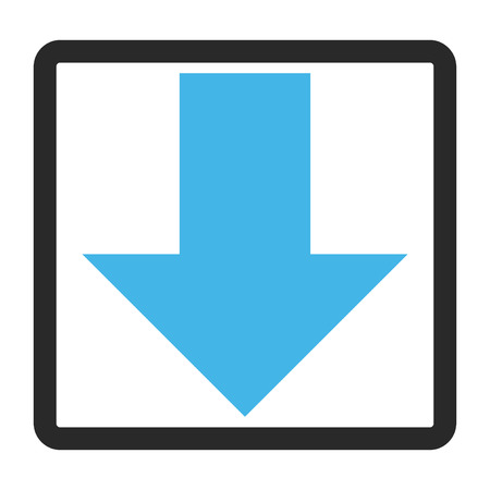 blue arrow: Arrow Down glyph icon. Image style is a flat bicolor icon symbol inside a rounded rectangle, blue and gray colors, white background.