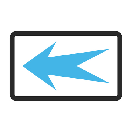 frame less: Arrow Left glyph icon. Image style is a flat bicolor icon symbol inside a rounded rectangular frame, blue and gray colors, white background. Stock Photo