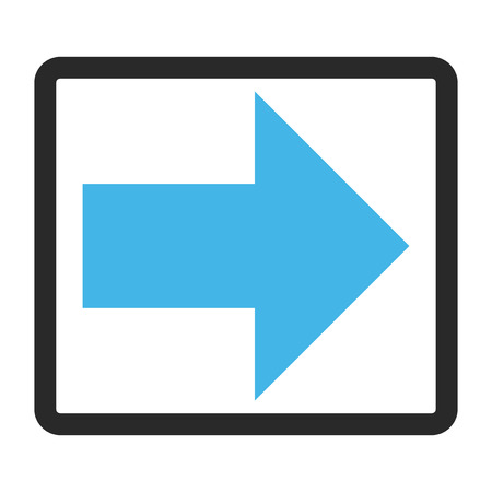 blue arrow: Arrow Right glyph icon. Image style is a flat bicolor icon symbol inside a rounded rectangular frame, blue and gray colors, white background.
