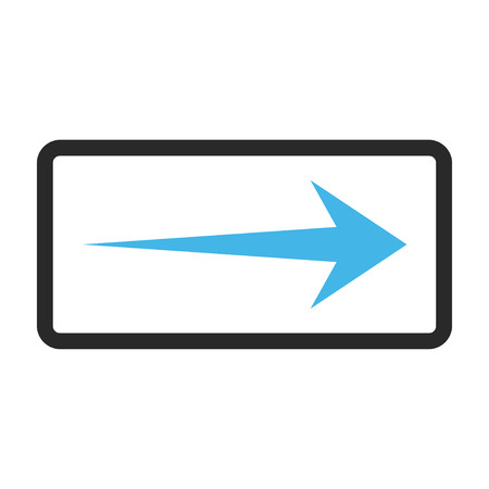 propel: Arrow Right glyph icon. Image style is a flat bicolor icon symbol in a rounded rectangular frame, blue and gray colors, white background.