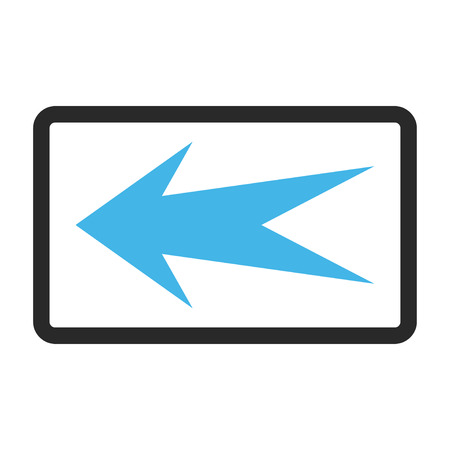 frame less: Arrow Left vector icon. Image style is a flat bicolor icon symbol in a rounded rectangle, blue and gray colors, white background. Illustration