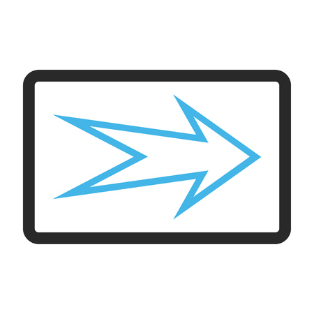 propel: Arrow Right vector icon. Image style is a flat bicolor icon symbol in a rounded rectangle, blue and gray colors, white background. Illustration