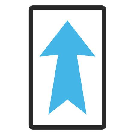Flèche Up vector icon. le style de l'image est un symbole plat bicolor icône dans un cadre rectangulaire arrondie, les couleurs bleu et gris, fond blanc.