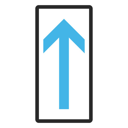 penetrating: Arrow Up vector icon. Image style is a flat bicolor icon symbol in a rounded rectangular frame, blue and gray colors, white background.