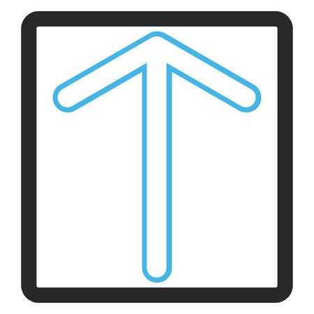 Flèche vers le haut de l'icône de vecteur Le style d'image est un symbole d'icône plat bicolor à l'intérieur d'un cadre rectangulaire arrondi, les couleurs bleues et grises, fond blanc.