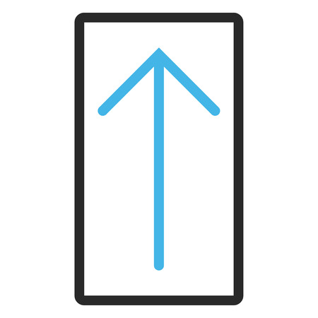 penetrating: Arrow Up vector icon. Image style is a flat bicolor icon symbol inside a rounded rectangle, blue and gray colors, white background.