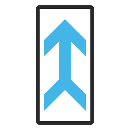 penetrating: Arrow Up vector icon. Image style is a flat bicolor icon symbol inside a rounded rectangular frame, blue and gray colors, white background.