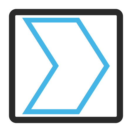 Arrowhead Right vector icon. Image style is a flat bicolor icon symbol in a rounded rectangular frame, blue and gray colors, white background. Illustration