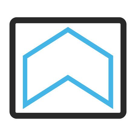 Icône de vecteur tête de flèche. Le style d'image est un symbole d'icône plate bicolore à l'intérieur d'un cadre rectangulaire arrondi, couleurs bleu et gris, fond blanc.