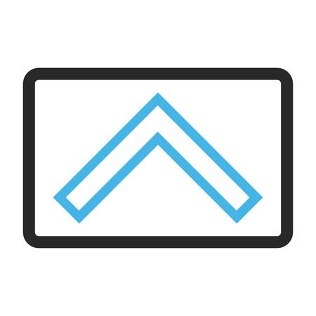 Icône de vecteur tête de flèche. Le style d'image est un symbole d'icône plate bicolore dans un rectangle arrondi, les couleurs bleues et grises, fond blanc.