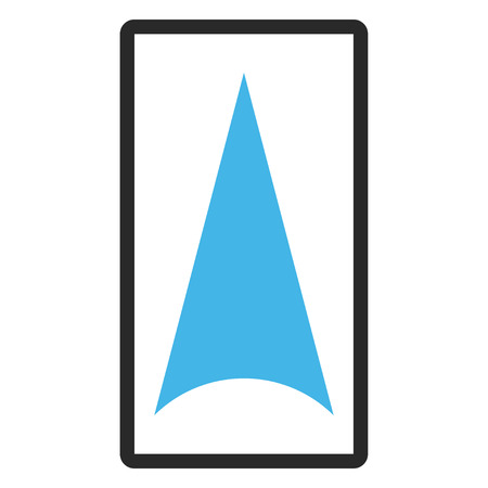 penetrating: Arrowhead Up vector icon. Image style is a flat bicolor icon symbol inside a rounded rectangle, blue and gray colors, white background.