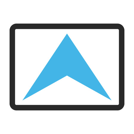 Icône vectorielle Arrowhead Up. Le style d'image est un symbole d'icône bicolore plat dans un rectangle arrondi, des couleurs bleues et grises, un fond blanc.