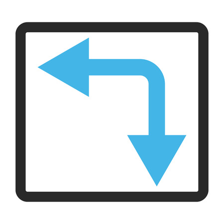 double cross: Bifurcation Arrow Left Down vector icon. Image style is a flat bicolor icon symbol in a rounded rectangular frame, blue and gray colors, white background.