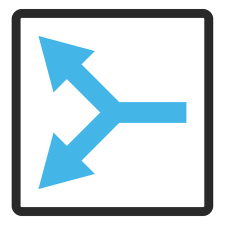 bifurcation: Bifurcation Arrow Left vector icon. Image style is a flat bicolor icon symbol inside a rounded rectangular frame, blue and gray colors, white background.