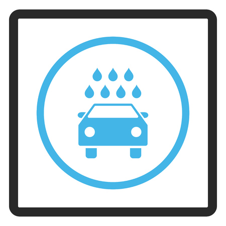antiseptic: Car Shower vector icon. Image style is a flat bicolor icon symbol inside a rounded rectangle, blue and gray colors, white background.