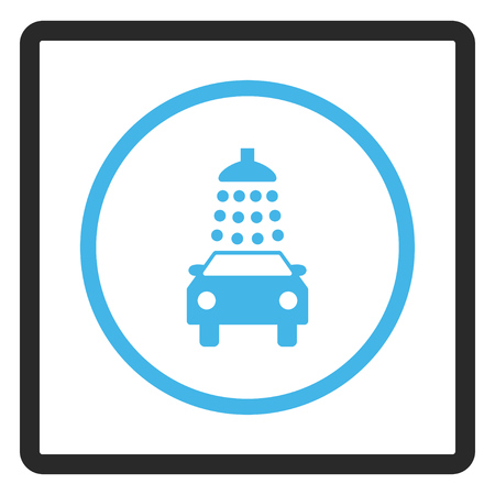 sterilize: Car Wash vector icon. Image style is a flat bicolor icon symbol in a rounded rectangular frame, blue and gray colors, white background. Illustration