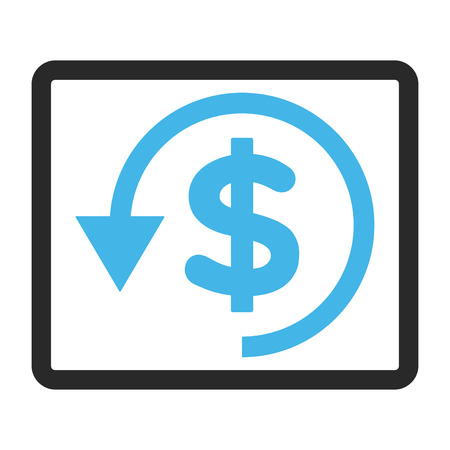 moneyback: Chargeback vector icon. Image style is a flat bicolor icon symbol inside a rounded rectangle, blue and gray colors, white background. Illustration