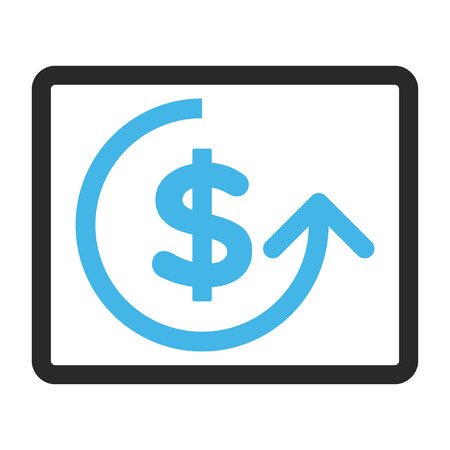 moneyback: Chargeback vector icon. Image style is a flat bicolor icon symbol in a rounded rectangle, blue and gray colors, white background.