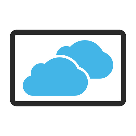 saas: Clouds vector icon. Image style is a flat bicolor icon symbol inside a rounded rectangular frame, blue and gray colors, white background.