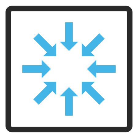 shrink: Collapse Arrows vector icon. Image style is a flat bicolor icon symbol in a rounded rectangular frame, blue and gray colors, white background. Illustration