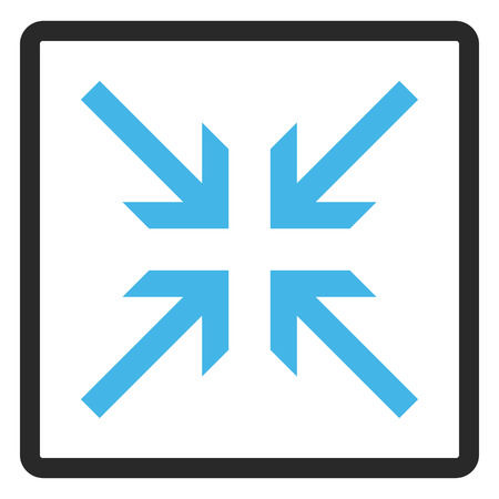 collide: Collide Arrows vector icon. Image style is a flat bicolor icon symbol inside a rounded rectangle, blue and gray colors, white background. Illustration
