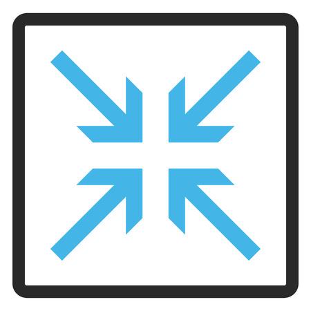 Kollidieren Pfeile Vektor Icon. Bildstil ist ein flaches zweifarbiges Ikonensymbol innerhalb eines gerundeten Rechtecks, blaue und graue Farben, weißer Hintergrund.