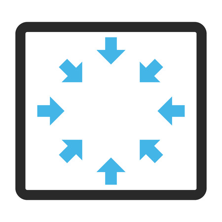 shrink: Compact Arrows vector icon. Image style is a flat bicolor icon symbol in a rounded rectangle, blue and gray colors, white background. Illustration