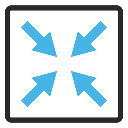 Compress Arrows vector icon. Image style is a flat bicolor icon symbol in a rounded rectangular frame, blue and gray colors, white background. Illustration
