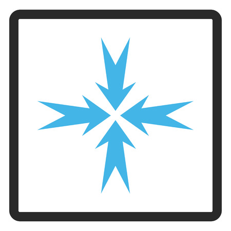 shrink: Compression Arrows vector icon. Image style is a flat bicolor icon symbol in a rounded rectangular frame, blue and gray colors, white background. Illustration