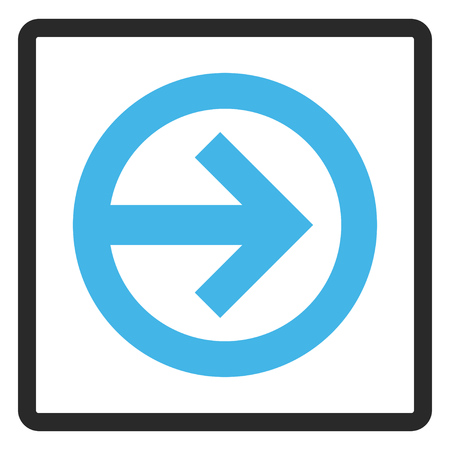 penetrating: Direction Right vector icon. Image style is a flat bicolor icon symbol in a rounded rectangular frame, blue and gray colors, white background. Illustration