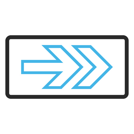 Direction Right vector icon. Image style is a flat bicolor icon symbol inside a rounded rectangular frame, blue and gray colors, white background.