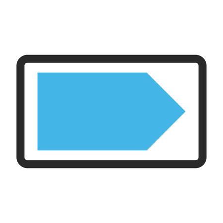 Direction Right vector icon. Image style is a flat bicolor icon symbol in a rounded rectangle, blue and gray colors, white background.