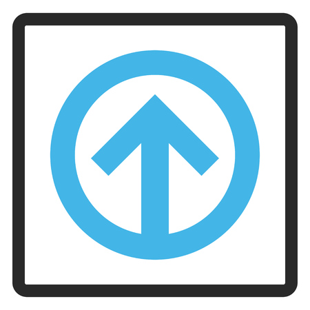 penetrating: Direction Up vector icon. Image style is a flat bicolor icon symbol inside a rounded rectangular frame, blue and gray colors, white background.