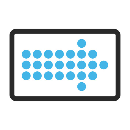 propel: Dotted Arrow Right vector icon. Image style is a flat bicolor icon symbol in a rounded rectangle, blue and gray colors, white background. Illustration