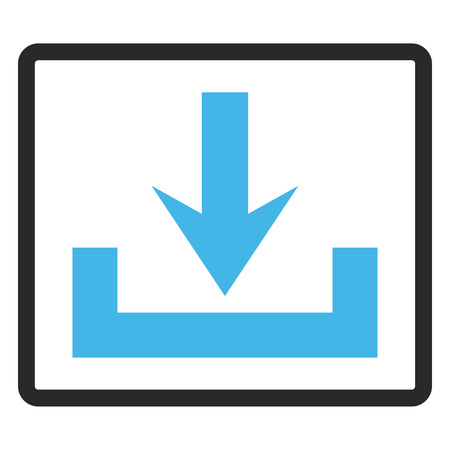 Downloads vector icon. Image style is a flat bicolor icon symbol inside a rounded rectangular frame, blue and gray colors, white background. Illustration