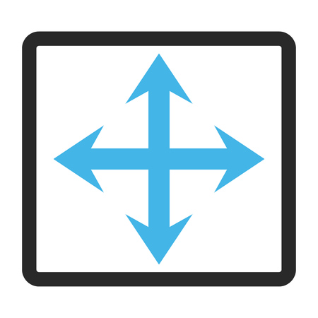 fullscreen: Expand Arrows vector icon. Image style is a flat bicolor icon symbol in a rounded rectangular frame, blue and gray colors, white background.