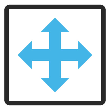 bifurcation: Expand Arrows vector icon. Image style is a flat bicolor icon symbol in a rounded rectangle, blue and gray colors, white background.