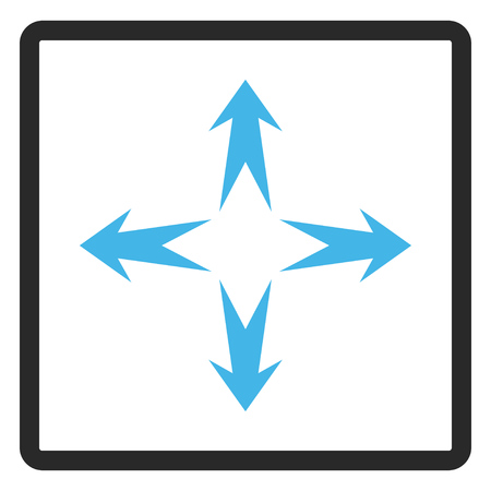 Expand Arrows vector icon. Image style is a flat bicolor icon symbol inside a rounded rectangle, blue and gray colors, white background. Illustration