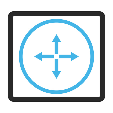 expand: Expand Arrows vector icon. Image style is a flat bicolor icon symbol in a rounded rectangular frame, blue and gray colors, white background.